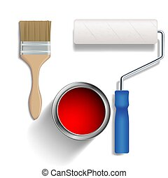 pintar rolo, escova, e, um, balde, de, paint.