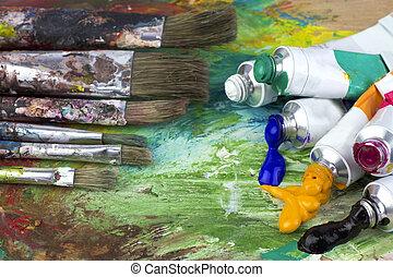 pinte paleta, cepillos, colores, artista