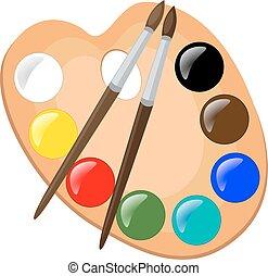 pinte paleta, com, escovas, vetorial, ilustração