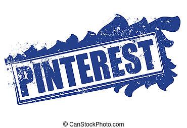 pinterest stamp - pinterest grunge stamp whit on vector...