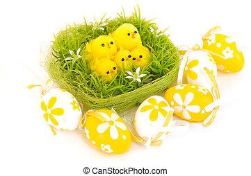 pintinho páscoa, -, pintado, ovos páscoa, isolado, para, páscoa, desenho