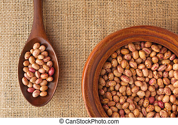 Pinto Beans in a wooden bowl and on a spoon