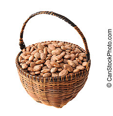 pinto beans in bamboo basket isolated on white background