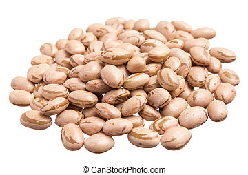 Pinto Beans. Pile of grains, isolated white background. -...