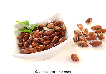 Pinto beans - red mottled and dried pinto beans on white ...