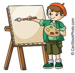 pintor, artista, criança