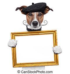 pintor, artista, marco, tenencia, perro