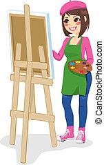 pintor, artista, mulher