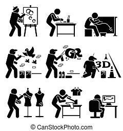 pintor, calle, artista, stickman