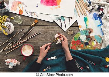 pintor, cepillo de limpieza