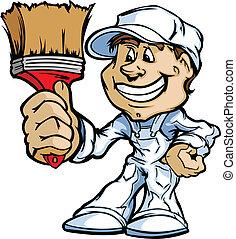 pintor, cepillo, feliz, contratista, posición, pintura, caricatura, vecto