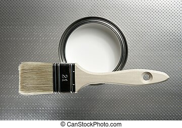 pintor, cepillo, y, pintura blanca, estaño