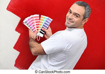 pintor, com, amostras cor