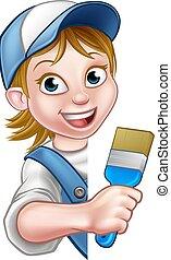 pintor decorador, mulher
