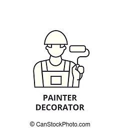 pintor, decorador, vetorial, linha, ícone, sinal, ilustração, experiência, editable, golpes
