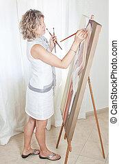 pintor, delinear, um, quadro, ligado, a, easel.