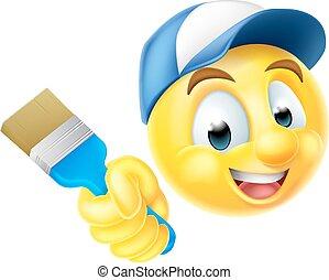 pintor, emoji, emoticon, com, pincel