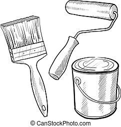 pintor, equipamento, esboço