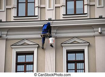 pintor, hovers, mansión, windows, entre, cuatro