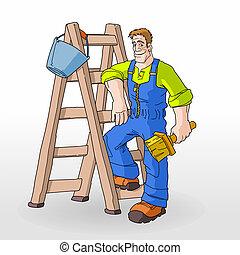 pintor, pintura, con, escalera