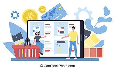 pintor, platform., decorador, serviço, online, ou