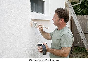 pintor, trabajando, casa