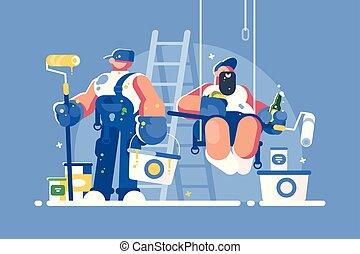 pintores, baldes, rolos, brigada