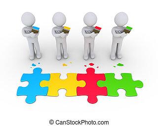 pintores, conexão, conceito, grupo