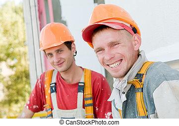 pintores, constructor, dos, fachada
