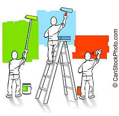 pintores, tres