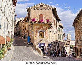 pintoresco, calle, en, assisi, italia