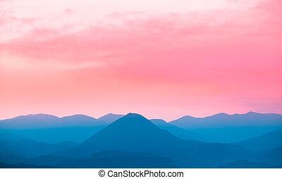pintoresco, montañas, paisaje