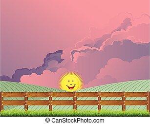 pintoresco, rural, país, escena, amanecer