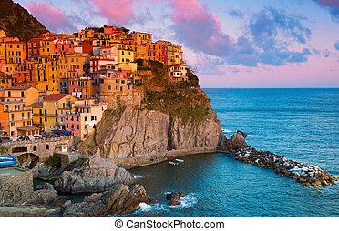 pintoresco, vista, de, manarola, laguria, italia, en, un,...