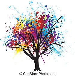 pintura, árbol, splat