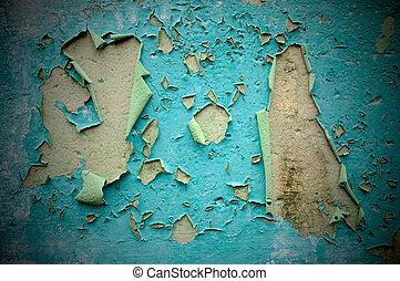 pintura, é, desfolha, desligado, tempo-batido, wall.