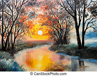 pintura óleo, ligado, lona, -, a, rio