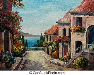 pintura óleo, ligado, lona, -, casa, perto, a, mar