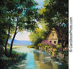 pintura óleo, ligado, lona, -, casa, perto, a, rio