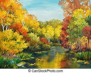 pintura óleo, ligado, lona, -, colorfull, floresta outono