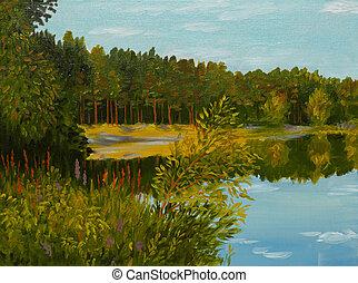pintura óleo, ligado, lona, -, coniferous, floresta
