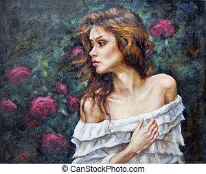 pintura óleo, ligado, lona, de, um, menina, entre, a, flores