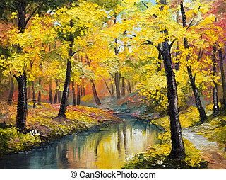 pintura óleo, ligado, lona, -, floresta outono