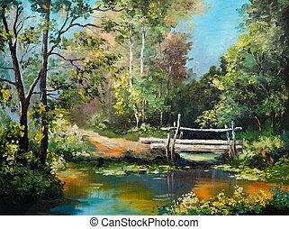 pintura óleo, ligado, lona, -, ponte, em, a, floresta