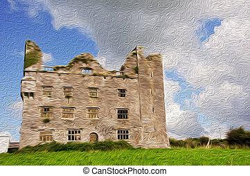 pintura óleo, mostrando, um, castelo, em, a, oeste, de, irlanda