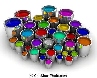 pintura, 3, latas