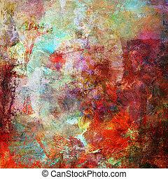 pintura abstracta, en, medios mezclados, estilo