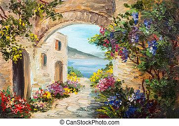 pintura al óleo, -, casa, cerca, el, mar, flores coloridas,...