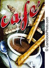 pintura al óleo, de, taza de café