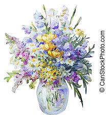 pintura al óleo, lona, wildflowers, florero